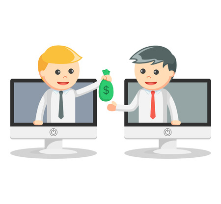 Business man online money transfer Illustration