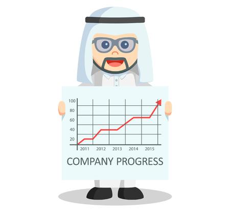 arab: Arabic business man progress arrow