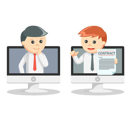 business contract: Business man offering online contract