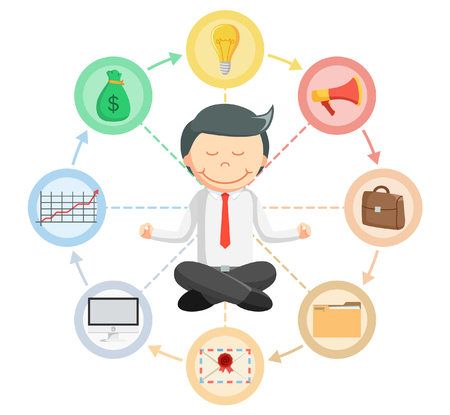 meditation man: Business man routine meditation