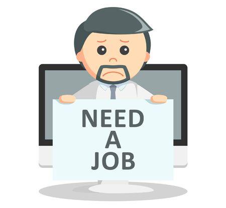 need: Business man need a job text Illustration