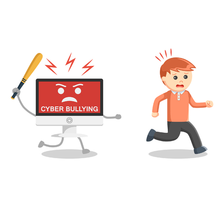Man run away from cyber bullying Illustration
