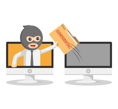 stolen identity: Business man stealing online secret