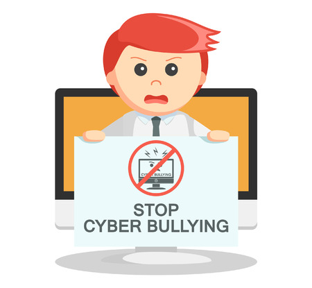 mobbing: Business man cyber bullying Illustration