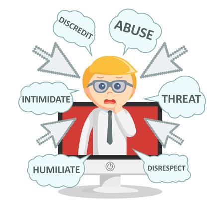 humiliation: Business man digital bullying text