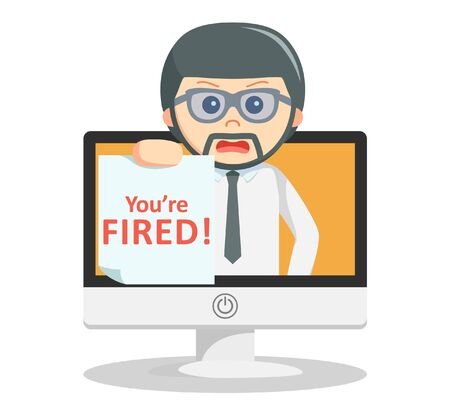 you are fired: Business man fired text