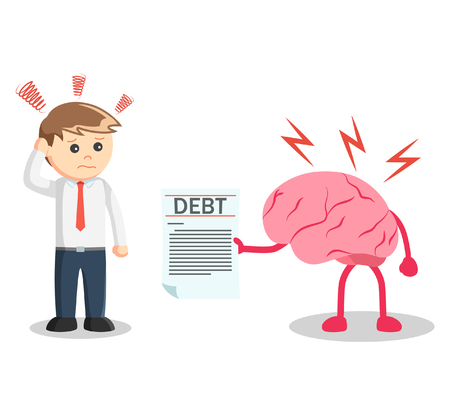 debt: Business man debt reminded