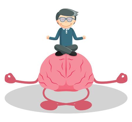 la meditación hombre con el cerebro Ilustración de vector