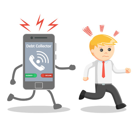 collector: Business man run away from debt collector phone call Illustration
