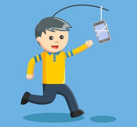 addicted: Man addicted with smartphone Illustration