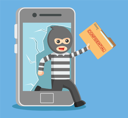 stealing data: hacker stealing personal data from smartphone Illustration