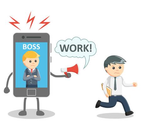 hombres trabajando: Jefe enojado del teléfono inteligente
