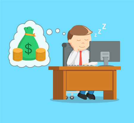 residual: businessman sleep at work and dreaming of money