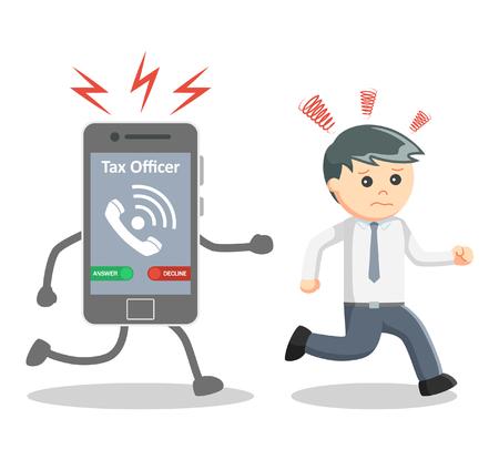 run away: Businessman run away from tax officer Illustration