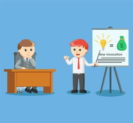 hombres trabajando: hombre de negocios que da la presentación de su nueva idea y nueva inovación