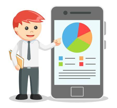 Business-Mann zeigt Bericht von Smartphones