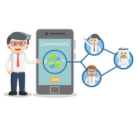 business media: Business man social media community Illustration
