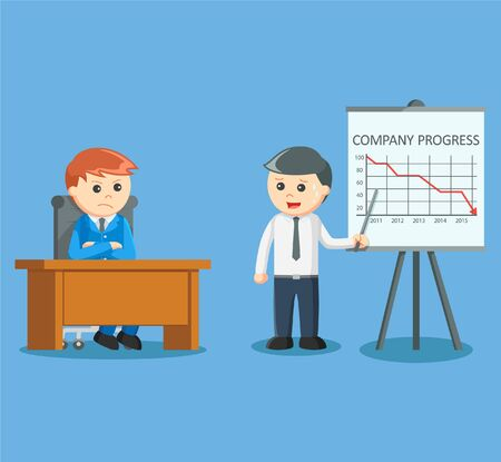 decreased: businessman giving decreased progress presentation
