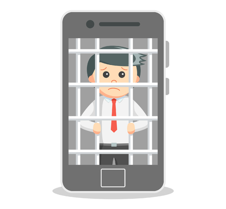 smartphone business: Business man data prisoned with smartphone Illustration