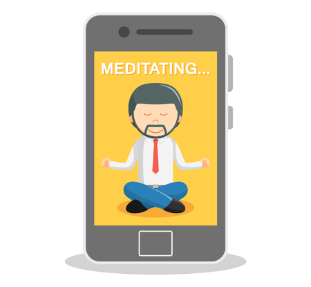 business shirts: Business man meditate with smartphone Illustration