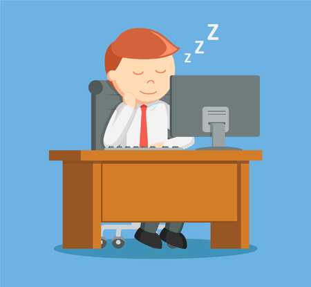 while: Businessman sleep while working
