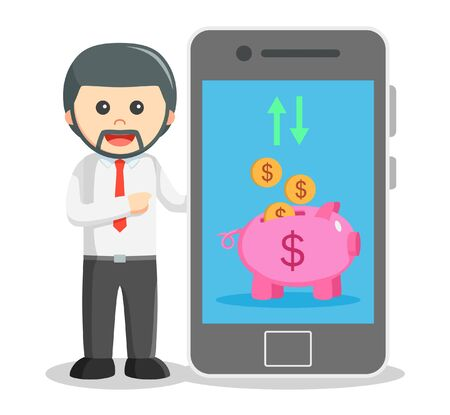 smartphone business: Business man showing mobile banking from smartphone