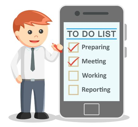 smartphone business: Business man making to do list from smartphone