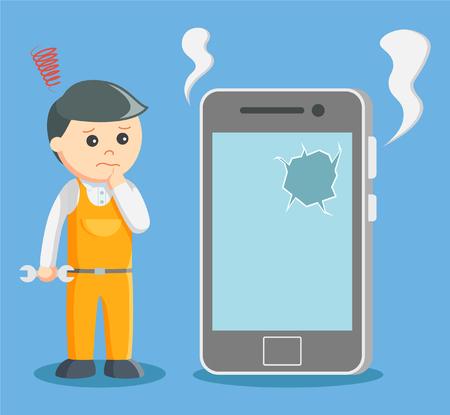 mobile cartoon: technician with broken smartphone Illustration