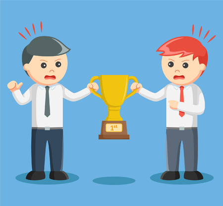 scrambling: two businessmen scrambling trophies Illustration