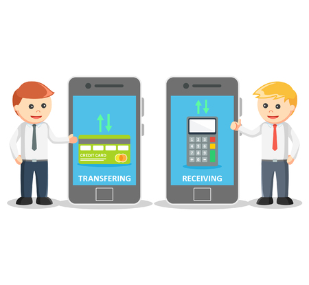 transfering: Mobile payment from smartphone Illustration