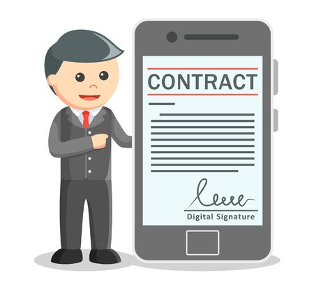 smartphone business: Business man showing contract digital signatured on smartphone