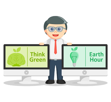 think green: Business man think green and earth hour