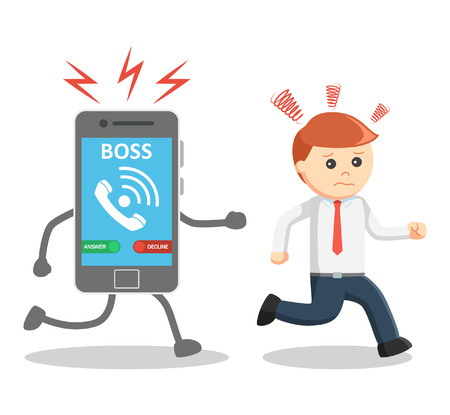 business phone: Business man run away from his boss phone call