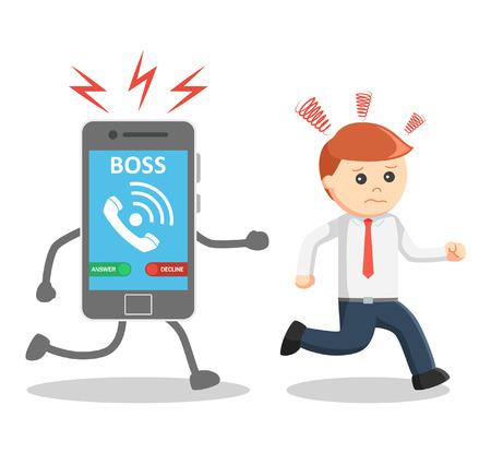 run away: Business man run away from his boss phone call