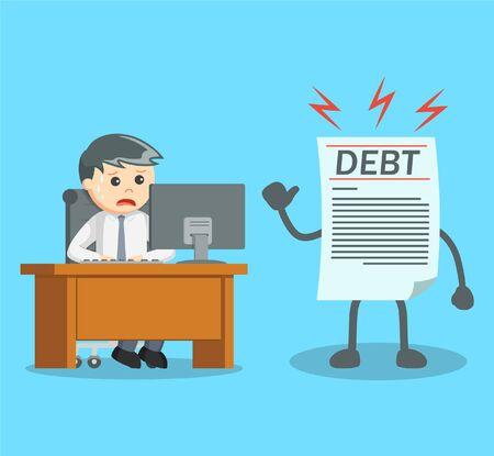 businessman see his debt while working Vektorové ilustrace
