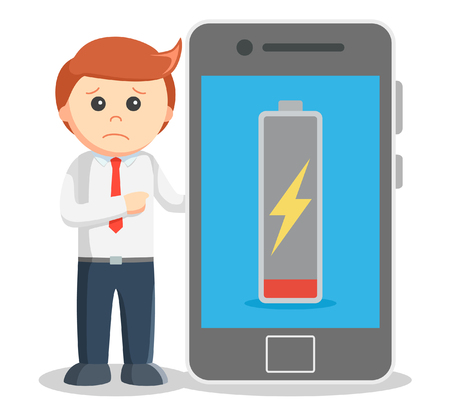 low battery: Business man showing low battery Illustration