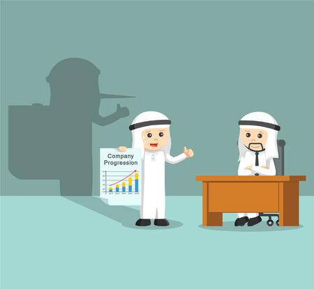 fake: arab businessman giving a fake report Illustration