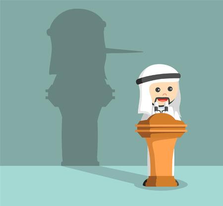 male face: arab businessman lied in his speech