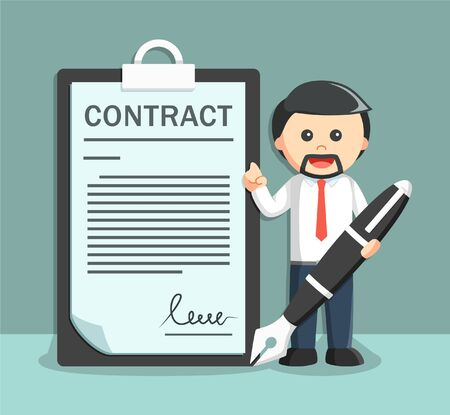 contracts: businessman with a big pen and paper contracts