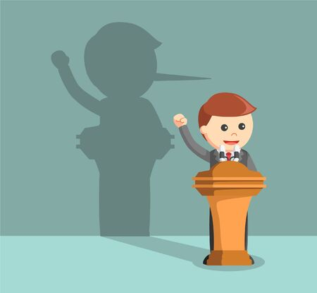 lied: businessman lied in his speech