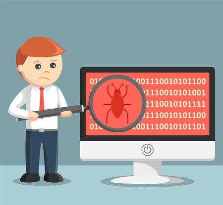 malware: businessman scanning malware on his computer Illustration
