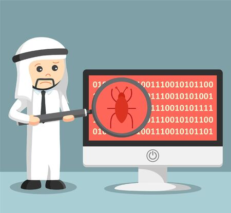 scanning: arab businessman scanning malware on his computer