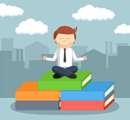 businessman meditate on the top of books