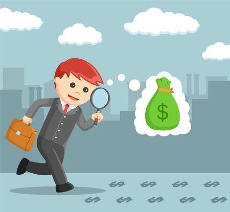 businessmen follow the money trail with a magnifying glass Vektoros illusztráció