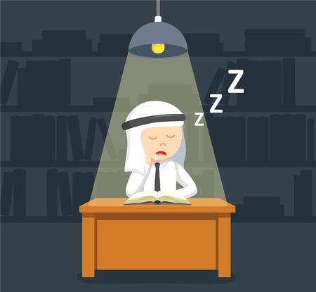 when: arab businessman sleep when reading