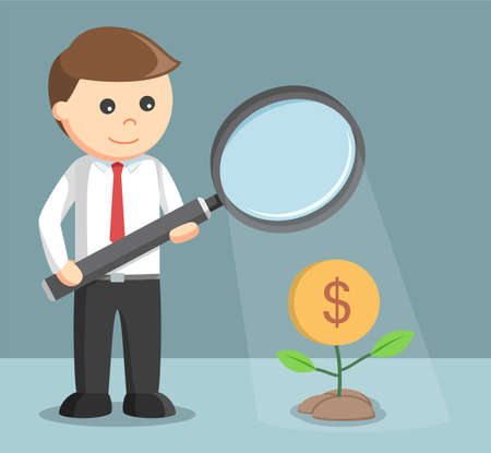 magnify glass: businessman giving light to his money plant with magnify glass