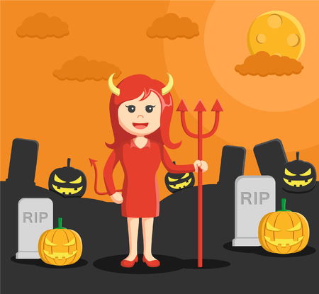 dressed: woman dressed as devil in halloween Illustration