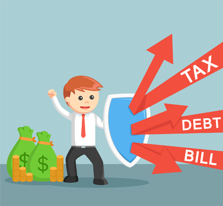 defending: Business man defending from tax,debt and bill Illustration