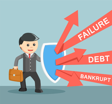 defending: Business man defending from failure, debt and bankrupt