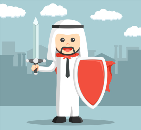 Arabic business man ready for business war Illustration